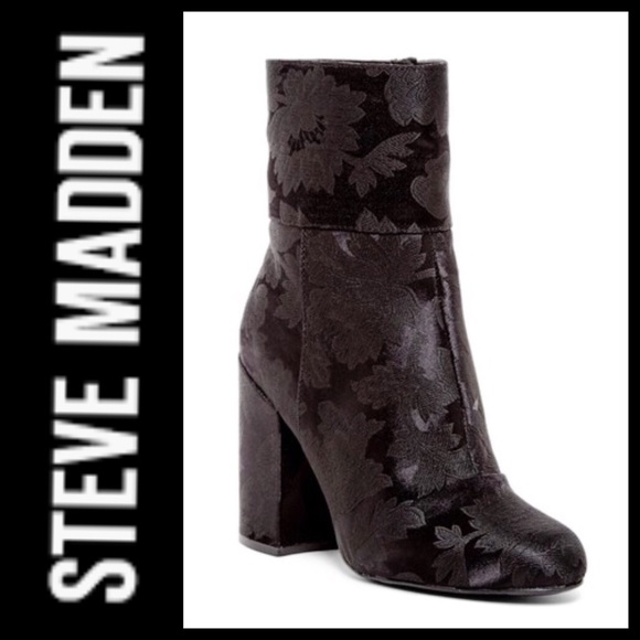 d588e2c83ba Steve Madden Goldie Block Heel Mid Boot Black Sz 8